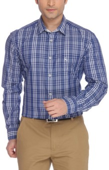 Parx Men's Checkered Formal Blue Shirt