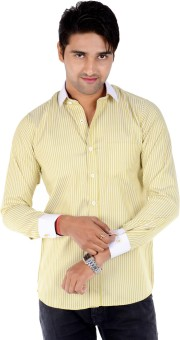 S9 Men's Solid, Striped Formal Orange, White Shirt