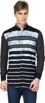 BRAVEZI Men's Striped, Self Design, Printed Casual, Party, Festive Shirt