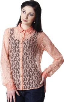 Hermosear Lace Women's Solid Casual Reversible Shirt
