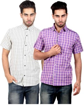 S9 Men Men's Checkered Casual Shirt Pack Of 2