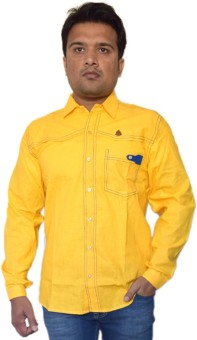 PP Shirts Men's Solid Party Yellow Shirt