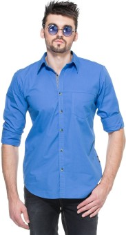 Zovi Regular Fit Royal Blue With Checkered Placket Men's Solid Casual Shirt