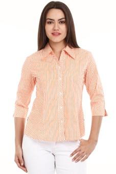 Mustard A544-ORZS Women's Striped Casual Shirt
