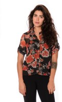 Urban Religion Women's Floral Print Casual Shirt