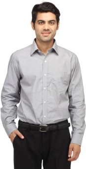 Perrie Curtis Men's Solid Formal Grey Shirt