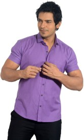 Radbone Men's Solid Casual Purple Shirt