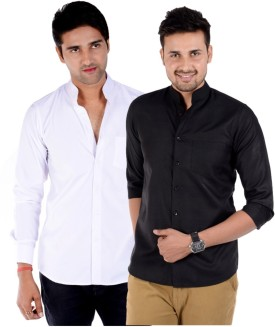 S9 MEN Men's Solid Formal, Wedding, Party, Festive, Casual Shirt Pack Of 2