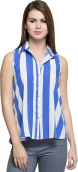 Oxolloxo Striped Fashionable Women's Striped Casual Shirt