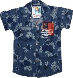 Kidzee Men's Printed Party Blue Shirt