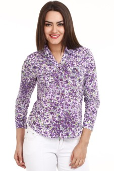 Mustard Purple Women's Floral Print Casual Shirt