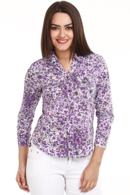 Mustard Mustard Purple Women's Floral Print Casual Shirt (Violet)