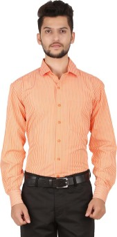 Stylo Shirt Men's Striped Formal Orange Shirt