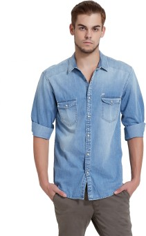 Breakbounce Men's Solid Casual Blue Shirt