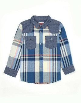 Levis Kids Boy's Checkered Casual Blue, Grey Shirt