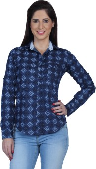 Fast N Fashion Dera Women's Printed Casual Denim Shirt