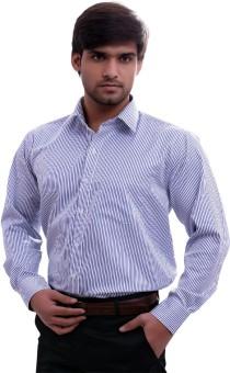 La Mode White-Blue Stripe Men's Striped Formal Shirt