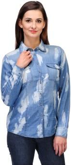 Kiosha KTVDA259 Women's Printed Casual Denim Shirt