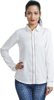 Shopper Tree White Women's Solid Casual Shirt