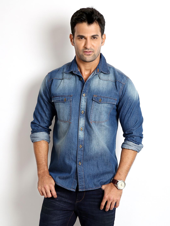 Rodid men 39 s solid casual denim shirt buy indigo blue for Buy denim shirts online