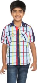 Seals Baby Boy's Checkered Casual Blue Shirt