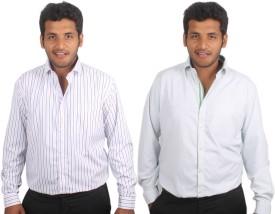 Maharaja Men's Checkered, Striped Formal Shirt Pack Of 2