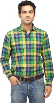 Perrie Curtis Men's Checkered Casual Multicolor Shirt