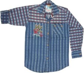 Kidzee Boy's Self Design Casual Maroon Shirt