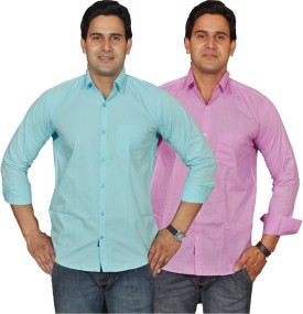 Lee Mark Men's Solid Casual Linen Shirt Pack Of 2