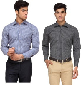 Rico Sordi Men's Checkered, Striped Formal Shirt Pack Of 2