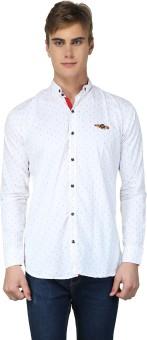 BRAVEZI Men's Polka Print, Printed, Geometric Print, Self Design Casual White Shirt