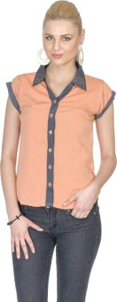 Aussehen AU 40 Peach Women's Solid Casual Shirt