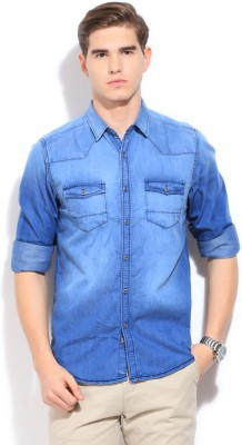 Bossini BOSSINI Men's Solid Casual Shirt (Indigo)