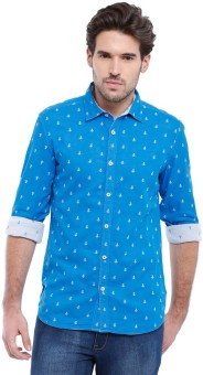Parx Men's Printed Casual Reversible Blue Shirt