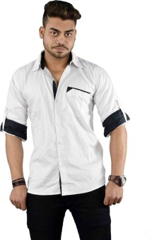 Your Desire Shirts Men's Checkered Casual White, Black Shirt