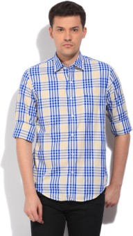 Peter England Men's Checkered Casual White, Blue, Yellow Shirt