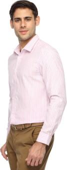Brooklyn Blues Men's Striped Casual White, Pink Shirt