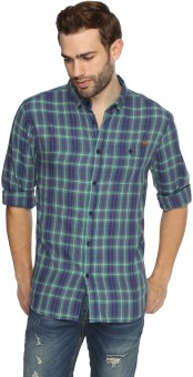 Breakbounce Men's Checkered Casual Blue Shirt