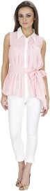 Lilium Girl's, Women's Solid, Woven Casual Pink, White Shirt
