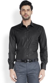 Raymond Men's Solid Formal Black Shirt