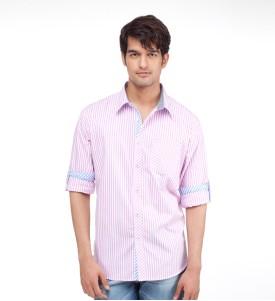 Yepme Men's Striped Casual White, Pink Shirt