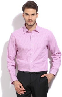 Arrow Men's Striped Formal White, Pink Shirt