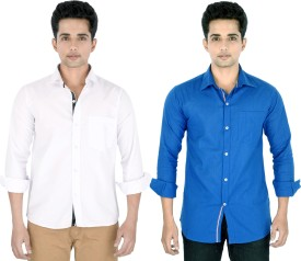 Yuva Men's Solid Casual Linen White, Blue Shirt Pack Of 2