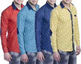 Aligatorr Men's Printed Formal Red, Blue, Dark Blue, Yellow Shirt Pack Of 4