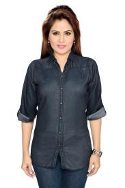 ALC Creations Women's Solid Casual Denim Black Shirt