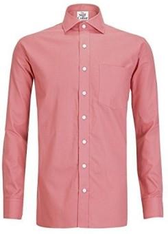 The Stiff Collar Men's Solid Formal Red Shirt