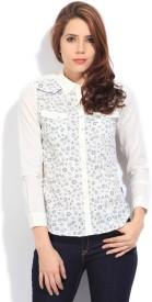 Wrangler Women's Printed Casual White Shirt