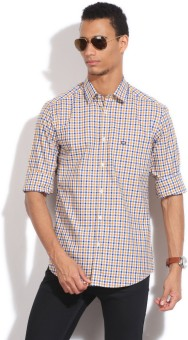 Arrow Sport Men's Checkered Casual White, Blue, Yellow Shirt