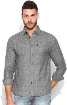 883 Police Men's Solid Casual Grey Shirt