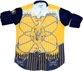 OKS Boys Boy's Printed Casual Yellow, Blue Shirt